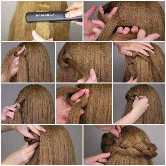 Схема плетение на распущенных волосах с гофре