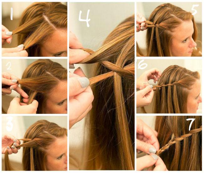 Схема плетения косы водопад