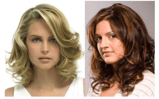 Два варианта стрижки Лесенка на средние волнистые волосы