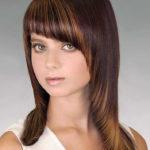 Косая чёлка для длинных волос