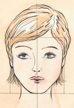 Схема пробора для квадратного типа лица