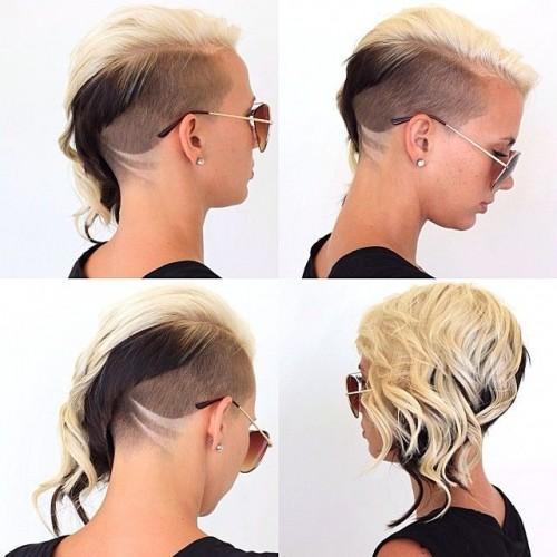 Женский вариант асимметричной причёски Undercut с удлиннением