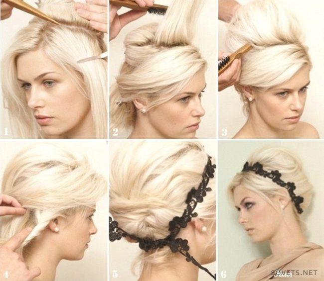 Схема выполнения бабетты на коротких волосах