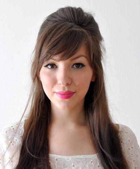 Готовая укладка бабетта на длинных волосах