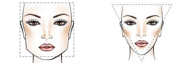 Квадратное и треугольное лицо