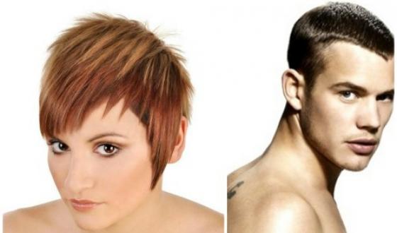 Причёска с короткими волосами на висках у женщины и мужчины
