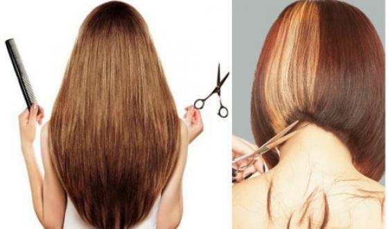 Длинные волосы, остриженные под каре
